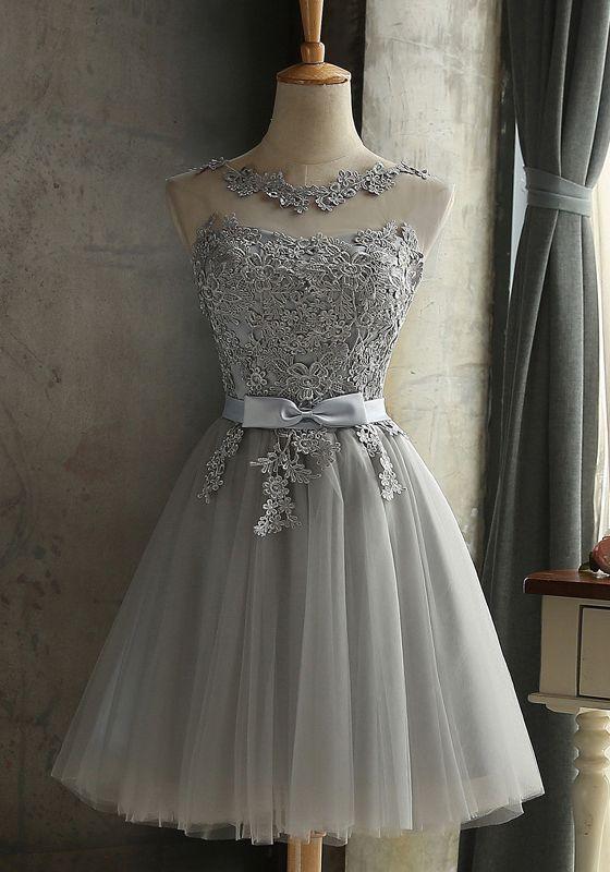 b3c320e6c7 Grey Lace Bow Grenadine Lace-up Bridesmaid Elegant Tutu Homecoming Mini  Dress  beautydresses