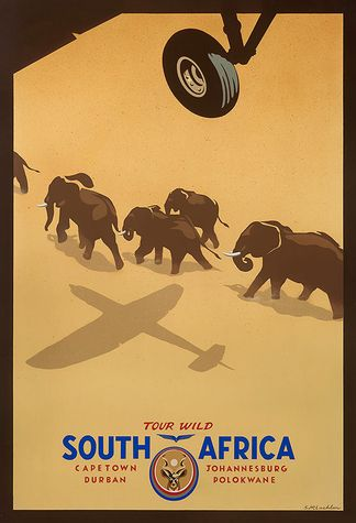 Vintage Travel Posters  -- Tour Wild, South Africa #Travel #Poster #Vintage