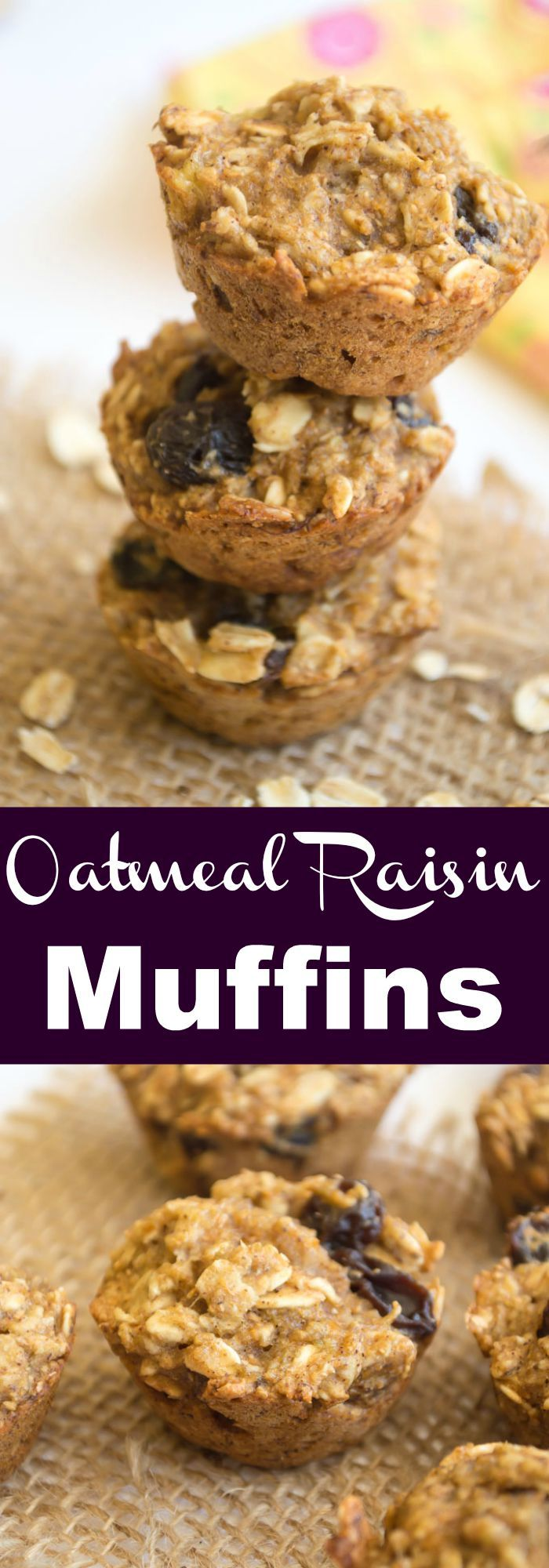Oatmeal Raisin Muffins. These healthy muffins are perfect for breakfast or snacking. No eggs, oils, or refined sugars or flours!