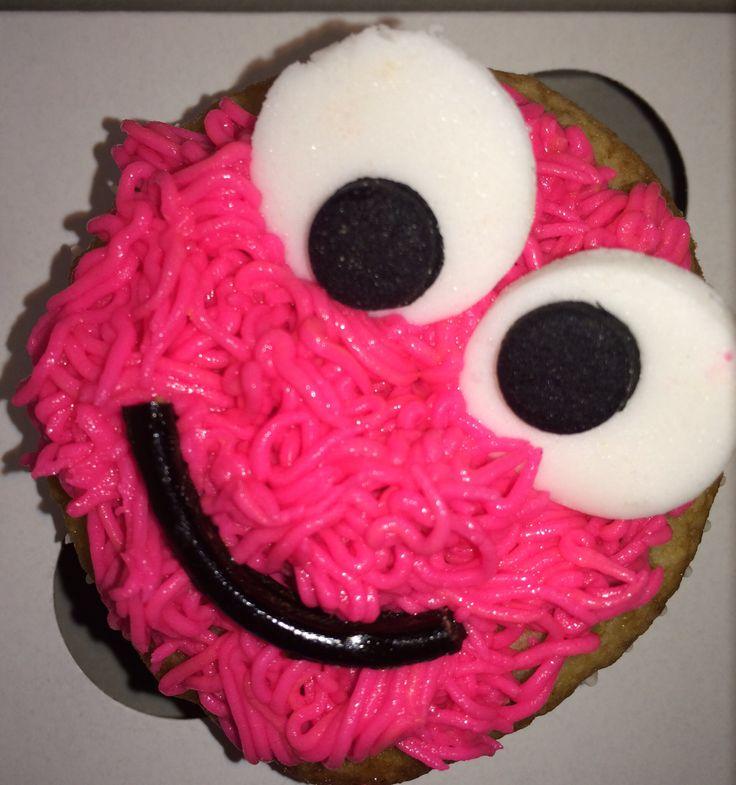 Pink monster cupcake