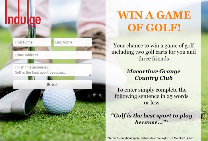 #Indulge Golf Competition