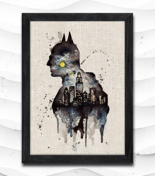 Arkham Knight Watercolor Print Batman Poster Art Print Baby Room Illustrations Superhero Nursery Kids Room Gift Linen Poster CAP137 by CRCRAP on Etsy https://www.etsy.com/listing/216116141/arkham-knight-watercolor-print-batman
