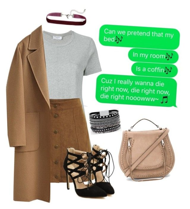 """""""Comment if you know the original song of this parody!"""" by neon-life ❤ liked on Polyvore featuring Frame, WithChic, Topshop, Rebecca Minkoff and White House Black Market"""