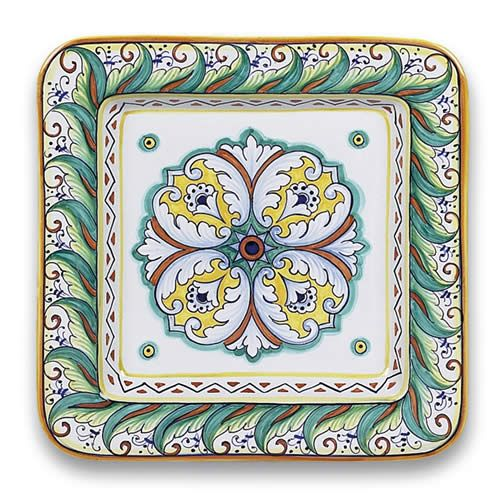 Geometrico Square Plate - This gorgeous piece of Italian serveware is great for using to serve an entree dish or you can hang the work of art of the wall as a conversation piece. These ceramic dishes go great with many of our other geometric patterns from Deruta. Handmade and hand painted in Deruta, Umbria, Italy. Found at the Italian Pottery Outlet in Santa Barbara, CA