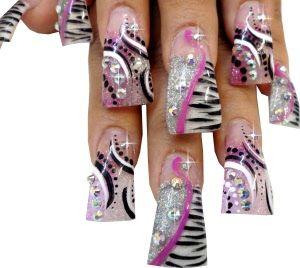 Flared acrylic nail art design...zoom sheba nails