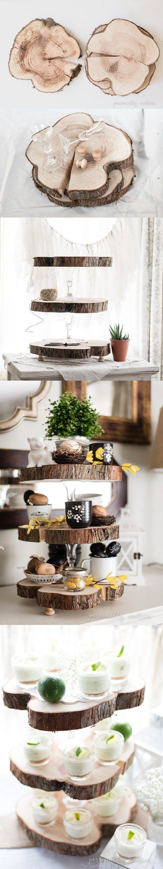 Bandeja DIY de tres alturas - personallyandrea.com - DIY Rustic Three Tier Wood Slice Stand