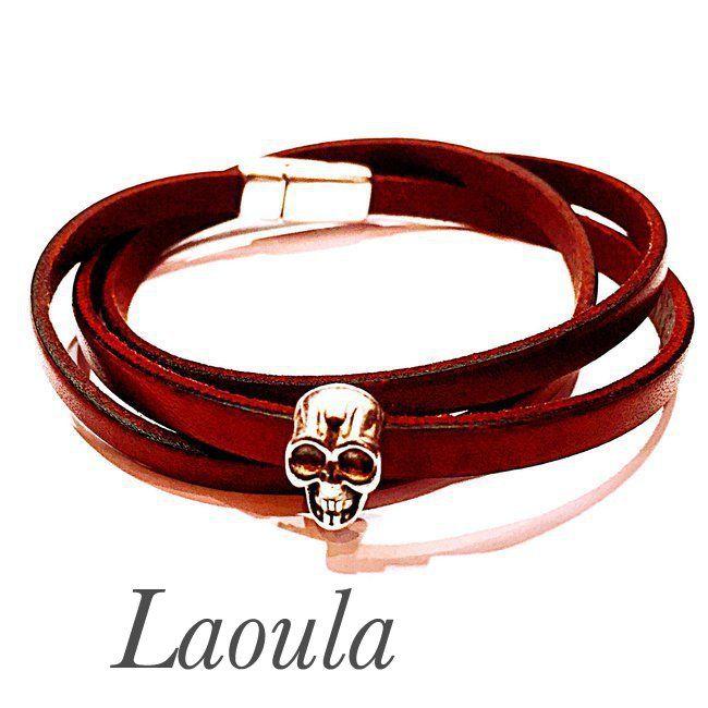 Bracelet cuir adolescent tête de mort trois tour marron 259217