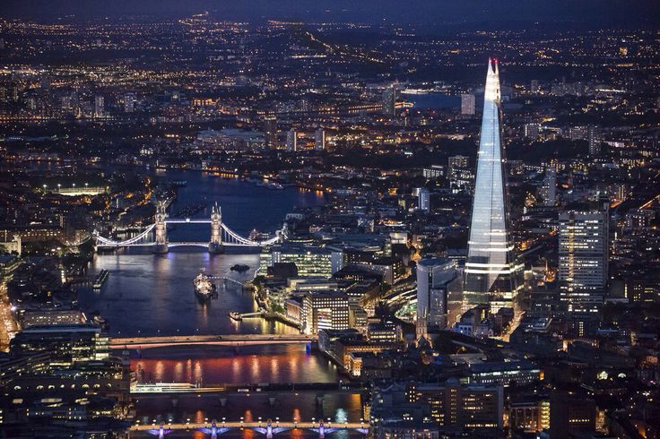 Nocturnal London landscape with th Shard and London Bridge