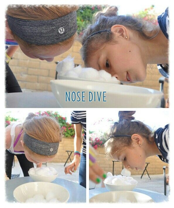 nose dive players transfer cotton balls on their nose with petroleum jelly can be used in a. Black Bedroom Furniture Sets. Home Design Ideas