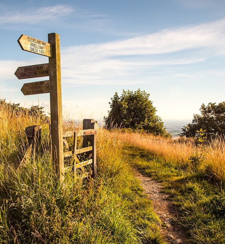 Signpost for Cleveland Way (near Sutton Bank, Yorkshire, England) by Alan cr.c.
