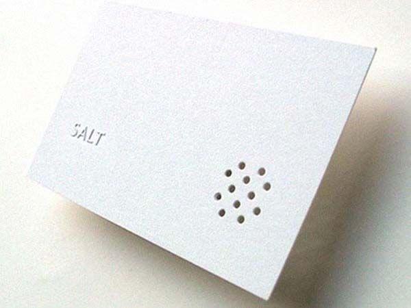 business card idea: Salt, a restaurant, has a saltshaker card