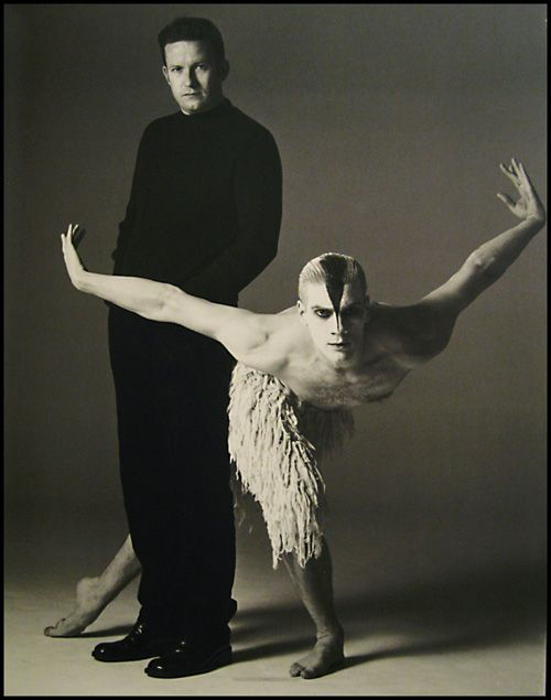 "Choreographer Matthew Bourne with dancer Adam Cooper, as photographed by Richard Avedon for his Iconic ""Swan Lake"", set entirely on men."