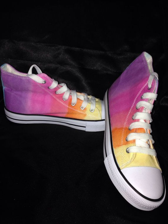 Womens tie dye canvas boots  Multi coloured tie dye by TheRedOwlCo