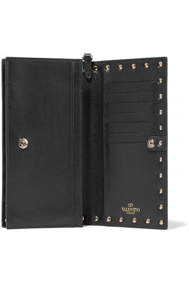 Valentino - The Rockstud Wristlet Leather Wallet - Black - one size