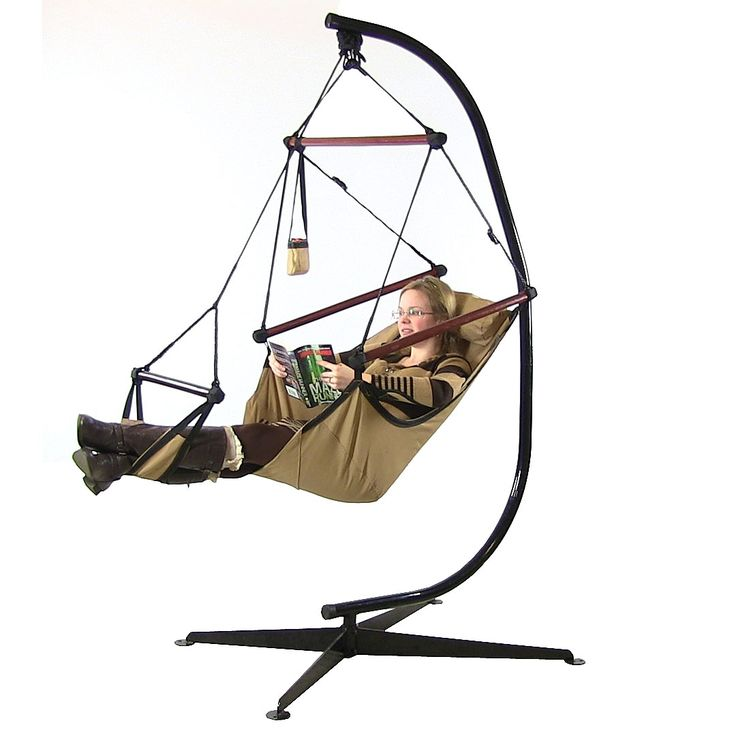 Tan Floating Hammock Chair with Stand