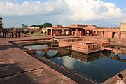 Anup talao (pond), the platform in the middle was used for singing competitions,Fatehpur Sikri