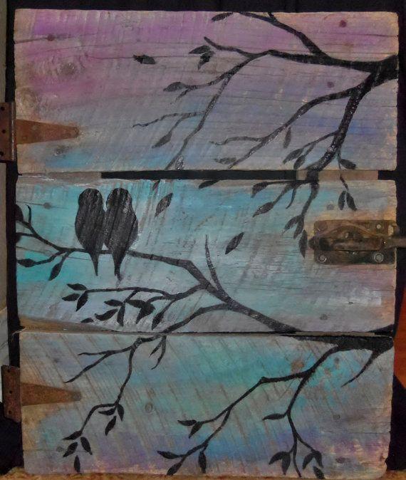 Reclaimed Barn Wood Door - Pair of Birds Painted Wall Art