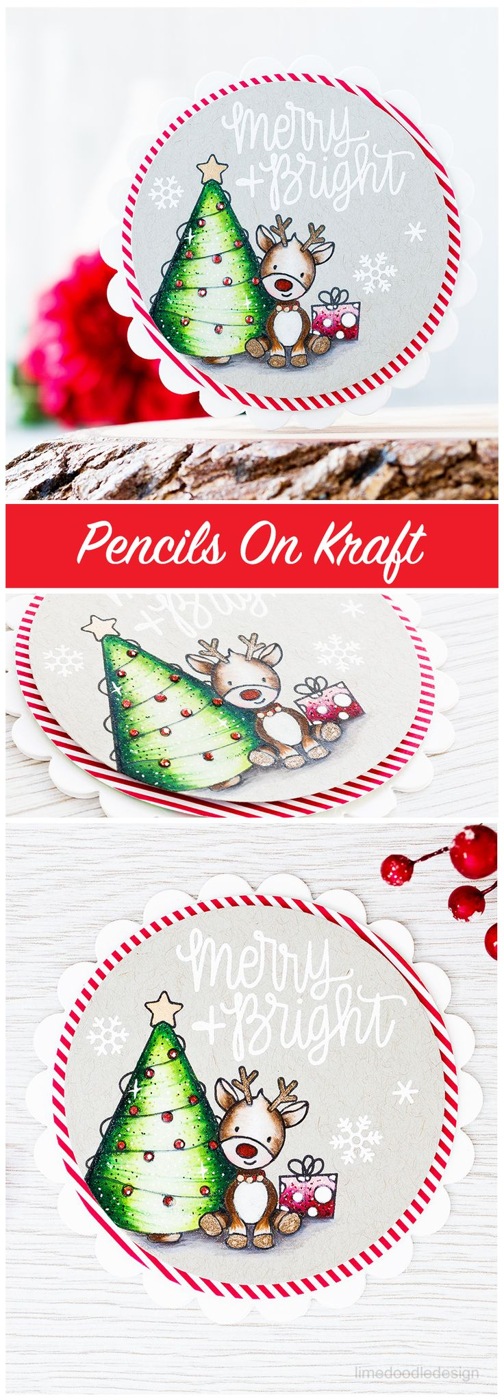 Coloring with pencils on kraft card and the new December card kit from Simon Says Stamp.