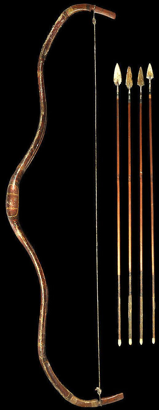 Indian (Mughal) gilt and painted kaman (bow) with arrows. Get Recurve Bows at…