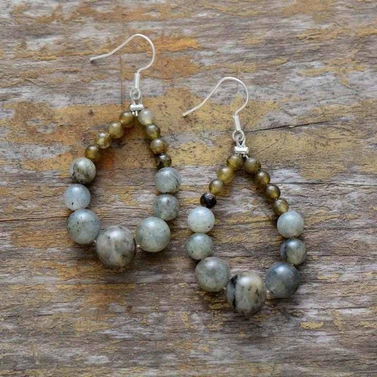 Labradorite Teardrop Dangle Earrings | Handmade Natural Stone Earrings