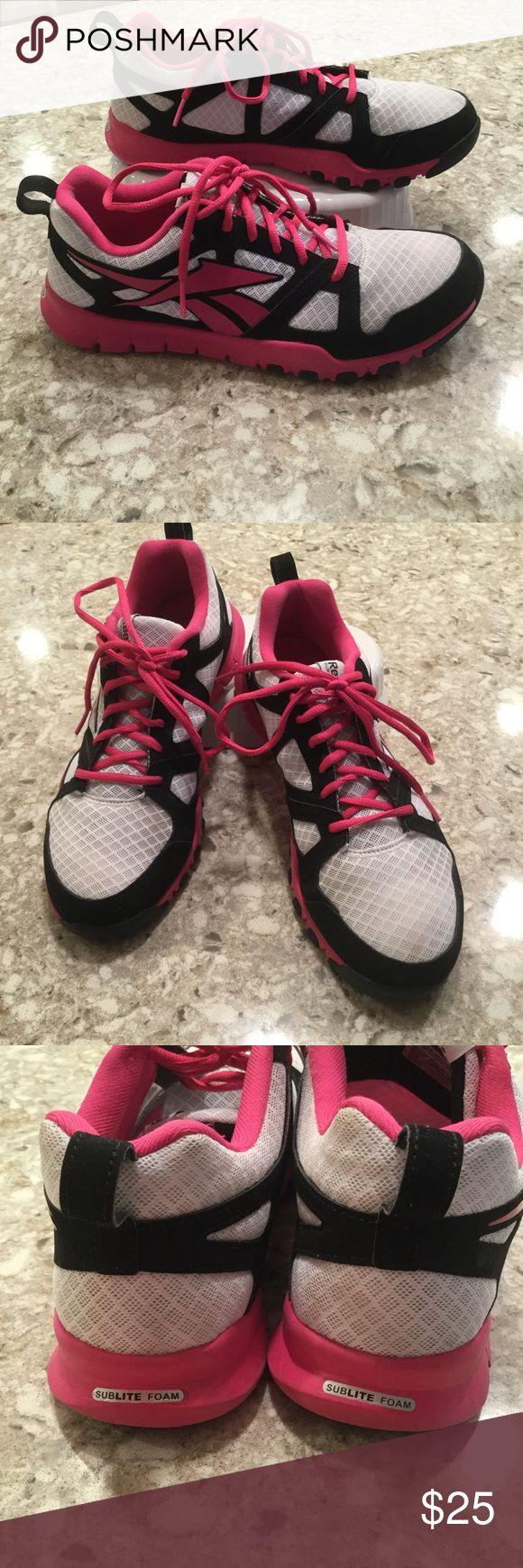 Reebok - sublite foam Gently worn,  Reebok sublime foam sneaker. Black, pink, white, pink laces, 9 1/2 Reebok Shoes Sneakers