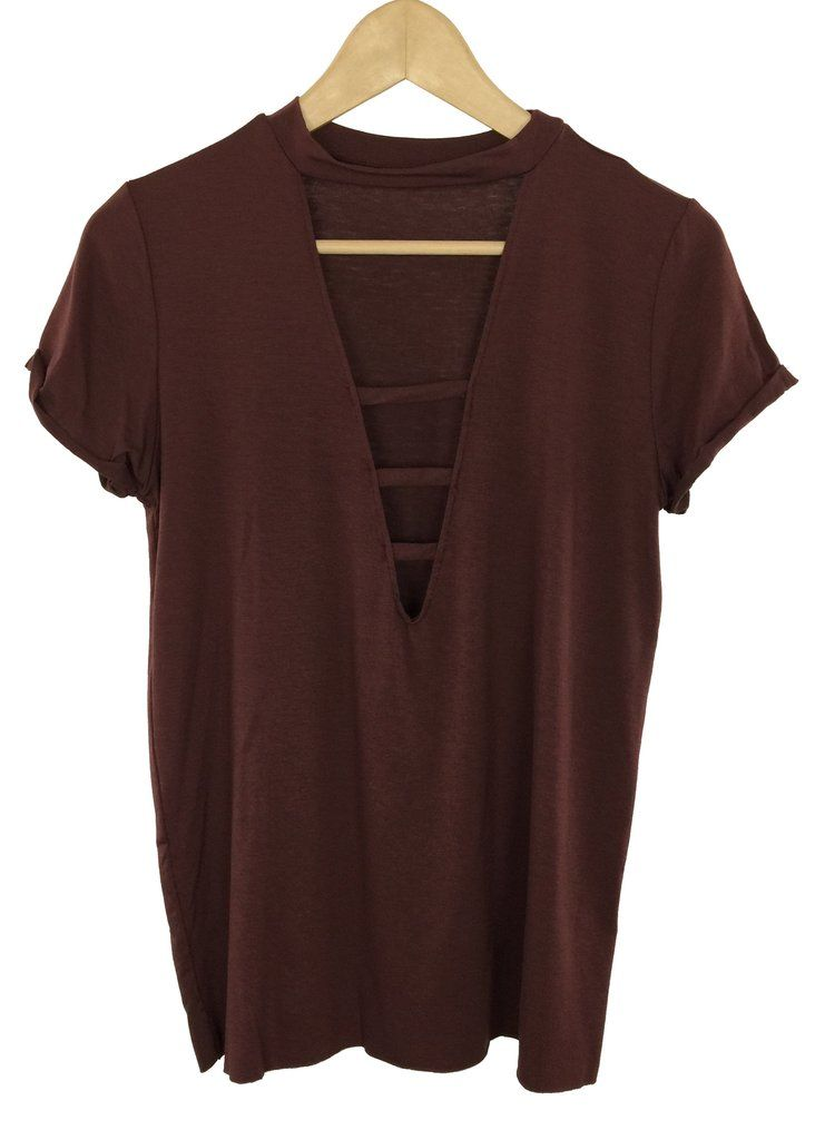 louise strappy deep V-neck tee (maroon)
