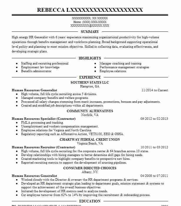 Senior Hr Generalist Resume Example Comprehensive Care Gary