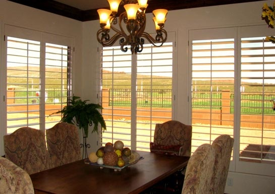 Beige Shutters for your dining room will complement your interior style