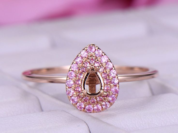 Ruby Engagement Semi Mount Ring 14K Rose Gold Pear 3x4.5mm
