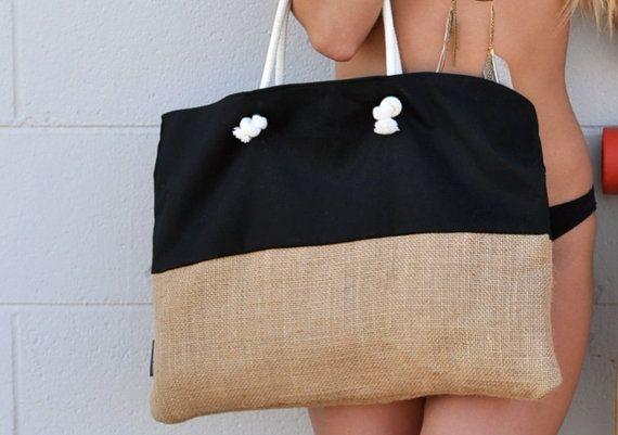 Plage de fond de toile de jute sac - sacs & Sacoches - couleur personnalisée