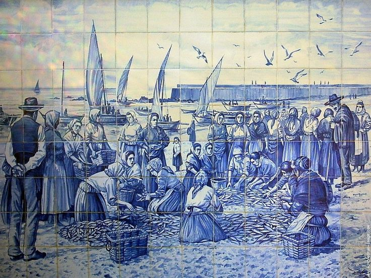 """""""Azulejos"""" Tiled art decorates many walls of Portugal. This one is located beside Povoa de Varzim's beach. Povoa de Varzim used to be largely a fishing town, where many people made their earnings in fish markets. Since then it has grown to be more of a modern city."""