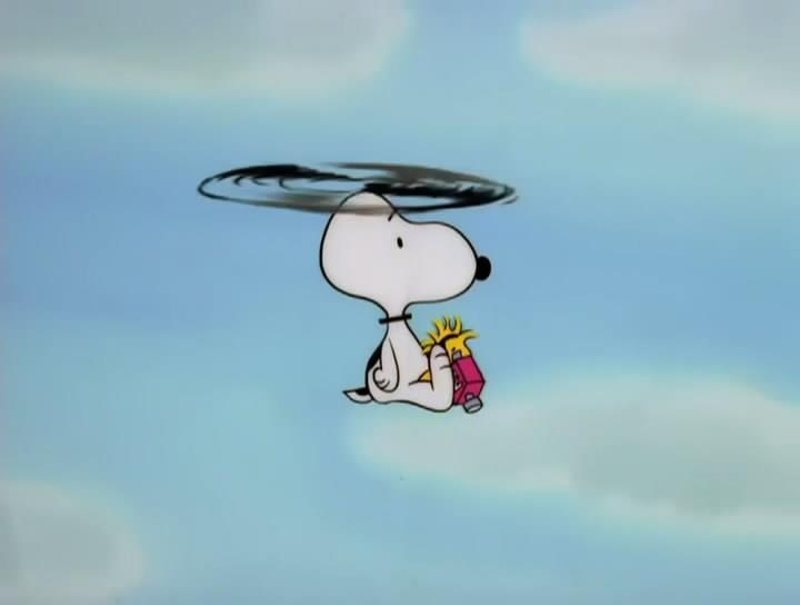 The Snoopycopter takes Woodstock for a Ride. Charlie Brown and the Peanuts Gang.