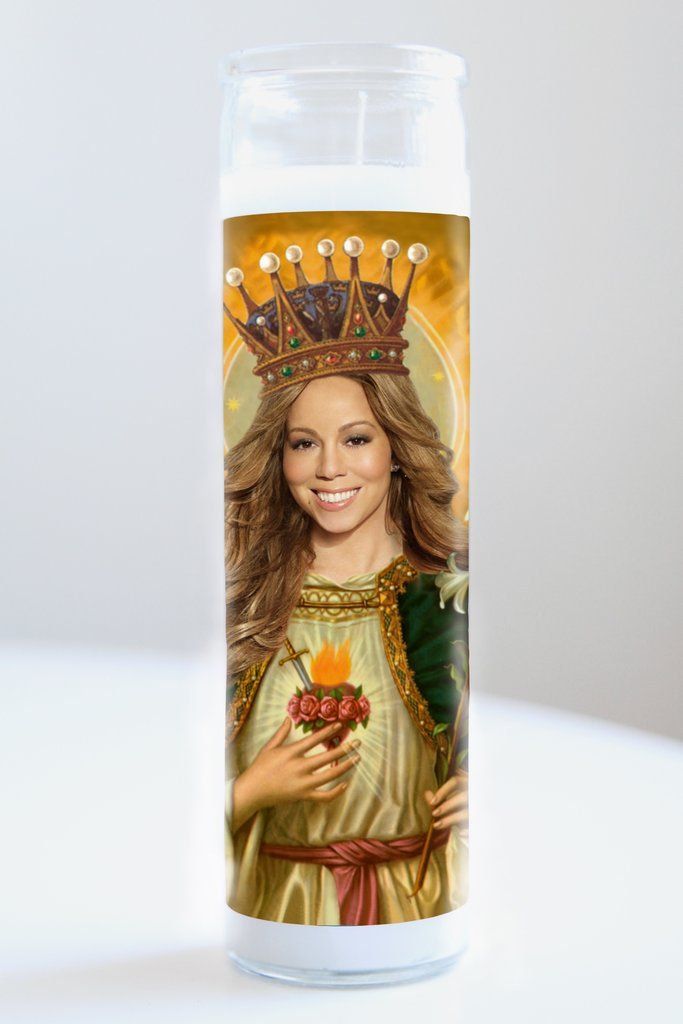 "Mariah Carey Saint Mariah Carey featured on Illuminidol's Texas-made 8"" prayer candle. The most divine way to bless any Mariah Carey disciple!"