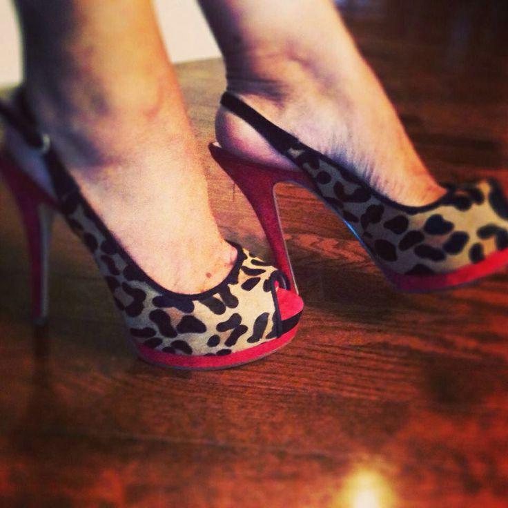 Leopard sling backs