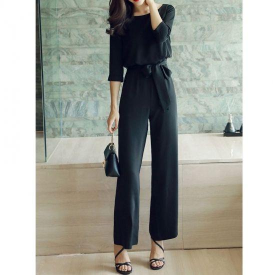 アクティブエレガントなシンプルワイドパンツドレス 黒オールインワン - 韓国プチプラパーティードレス通販『TENDERLY DRESS』結婚式二次会お呼ばれ