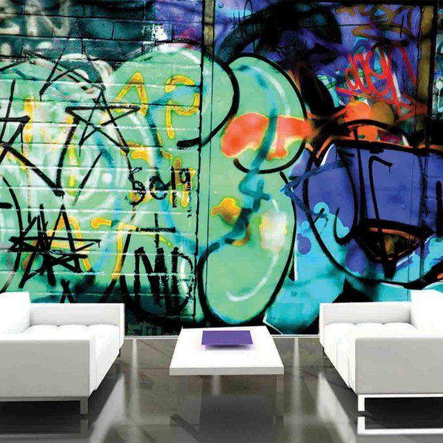 Camden Green Graffiti Wallpaper Interior Design Theme