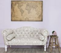 Traditional Style Beige Floral Small Sofa - Serena