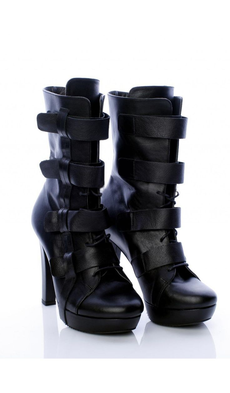 SEPALA - Botine negre cu tocul gros   #botine #boots #moja #sepala #leatherboots