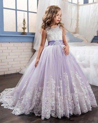 Neu Mädchen  Blumenmädchen Prinzessin Brautjungfer Kleid Kinder Kommunion Kleid 2