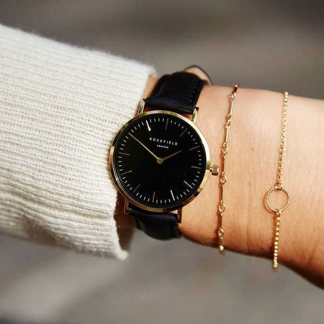 Tribeca Or Montre Pour Femme Bracelet En Cuir Noir