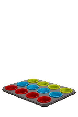 "Non-stick carbon steel and silicone muffin tray with 12 silicone cups. The silicone cups look great when presenting your baking.<div class=""pdpDescContent""><ul><li> Silicone is a non-stick and totally flexible for easy release and turning out of cupcakes </li><li> Let the bake ware cool before washing it</li><li> Use non-abrasive cleaning products</li><li> Metal bake ware is not dishwasher safe"