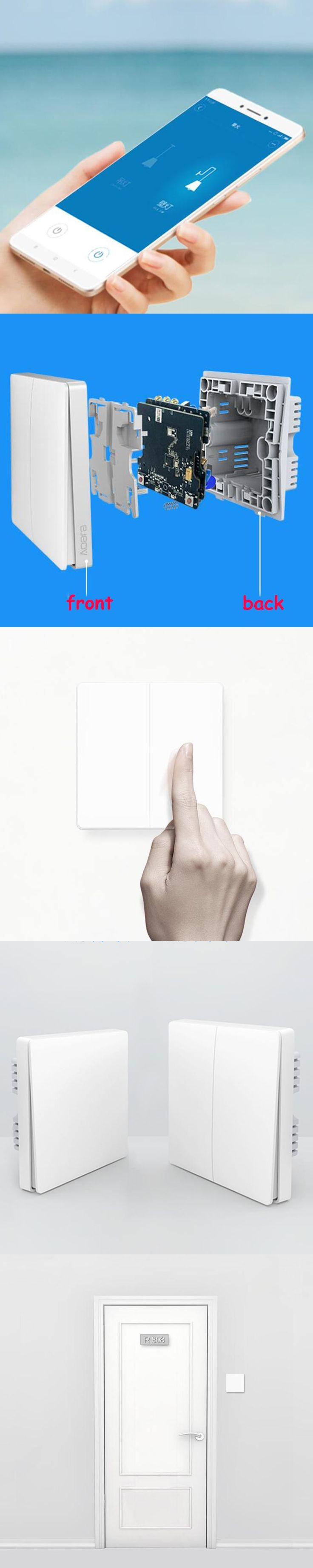 Original Xiaomi Smart home Aqara Smart Light Control ZiGBee Wireless Key switch and Wall Switch Via Smarphone APP Remote Xiaomi