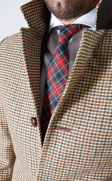 Blue, Brown, and Cream Houndstooth Jacket, and Tartan Plaid Tie. Men's Fall Winter Fashion.