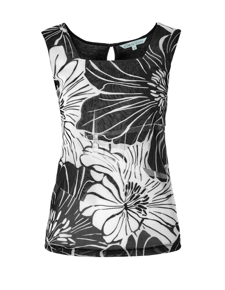Floral Rumba Front TopFloral Rumba Front Top, Black/White