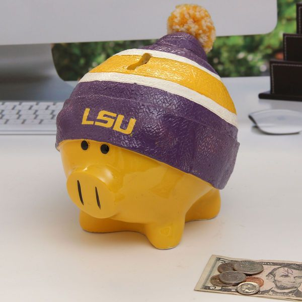 LSU Tigers Large Piggy Bank With Hat