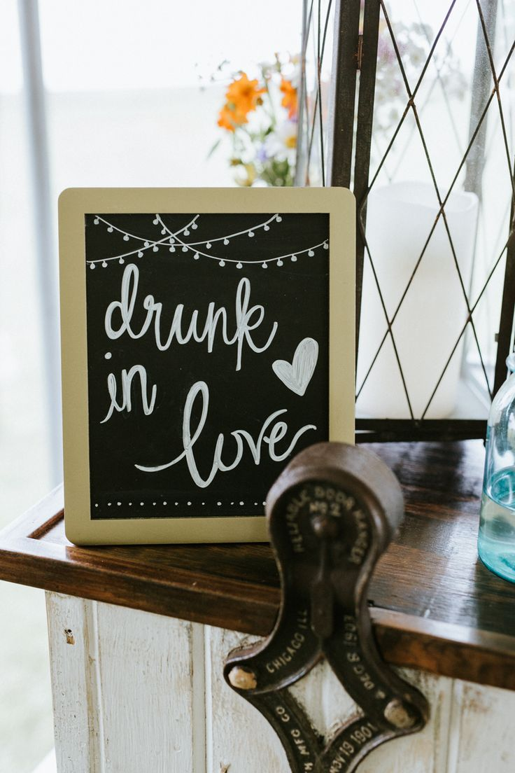 Drunk in love wedding bar sign.  Jacoby Photo and Design | St. Louis wedding