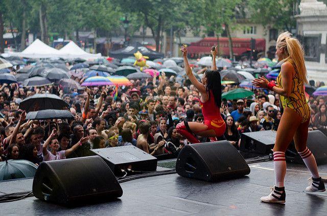 Tara McDonald LIVE on stage at gay Pride Paris, France, 2014