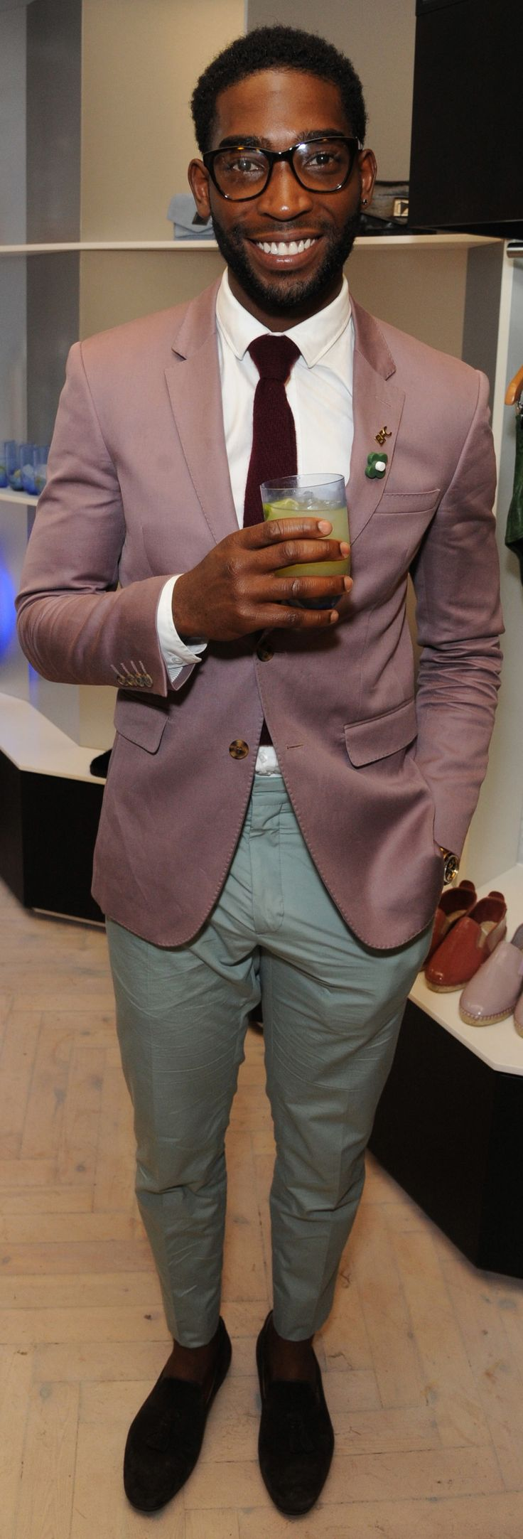 British musician Tinie Tempah wearing Burberry Tailoring to the Prism London 2.0 Collection launch