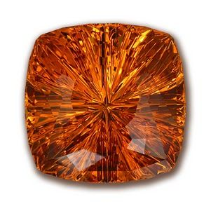 Citrine. Created in many shades of gold, yellow & orange.  This gemstone is from the quartz family.  (species)  This gemstone group is the largest of all.