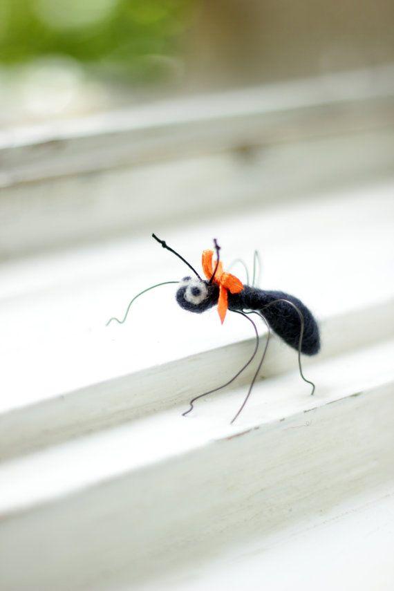 One Little Felt Ant - Needle Felt Ant - Spring Home Decoration. Felt Art by Mariana on Etsy. So cute!